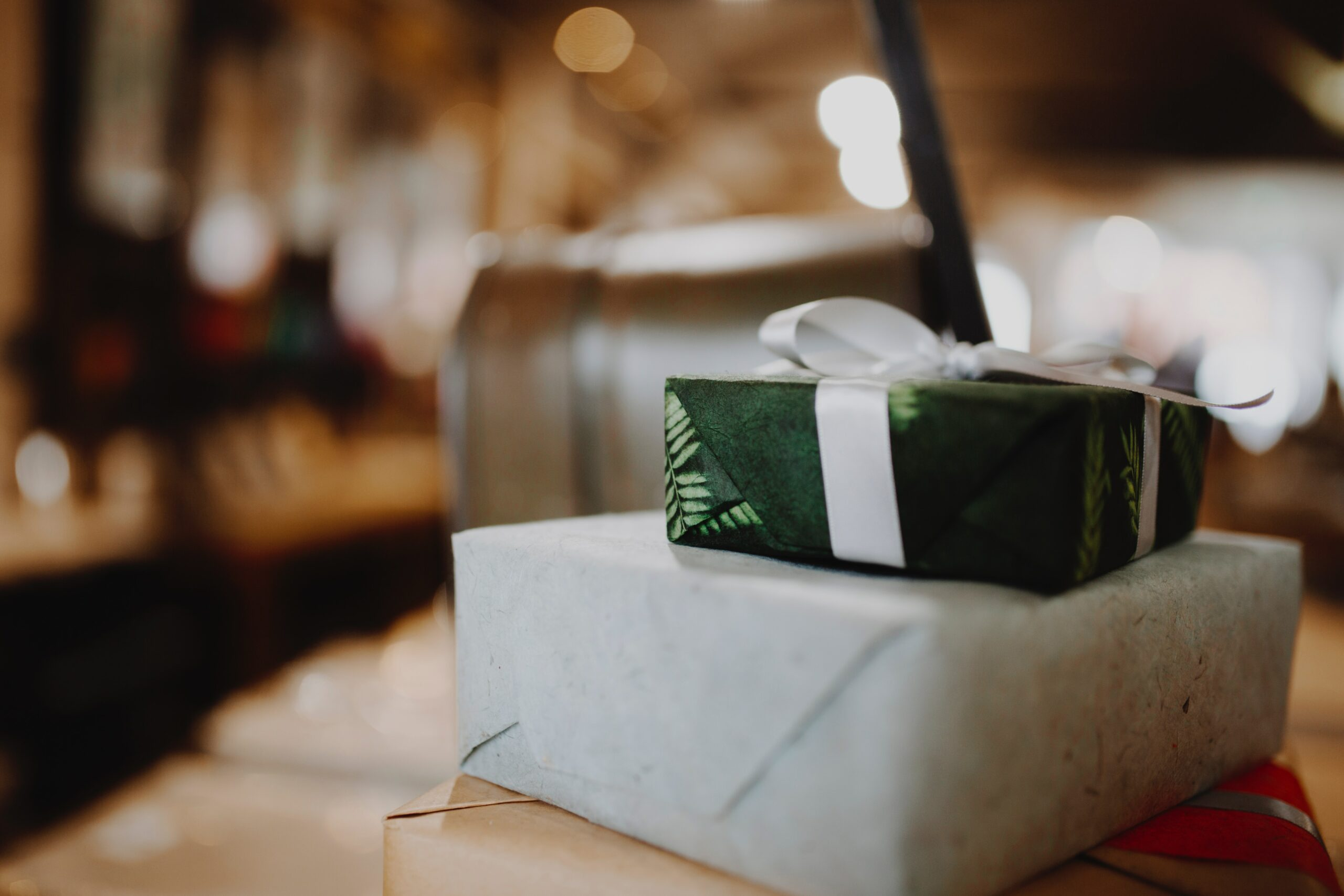 This image shows two gift-wrapped packages